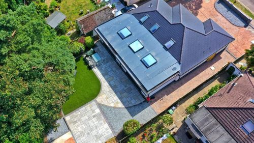 Aerial view of landscaped garden
