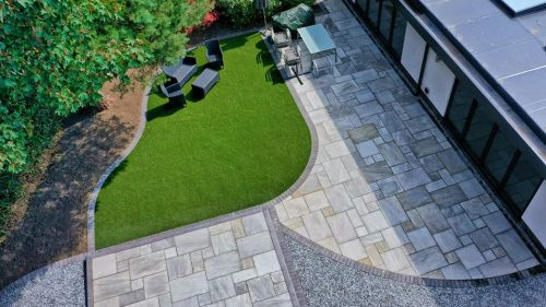 New patio and landscaped garden